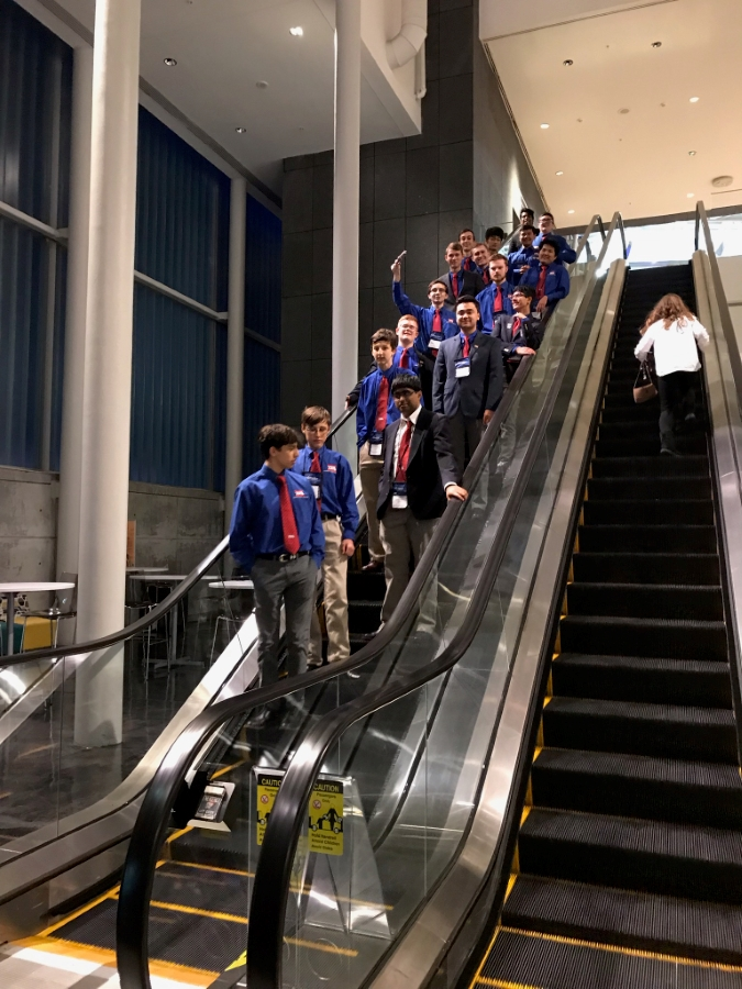 Escalator Ride 2019 - 18 of the Battlefield TSA students on the down escalator May 2019 Technosphere.