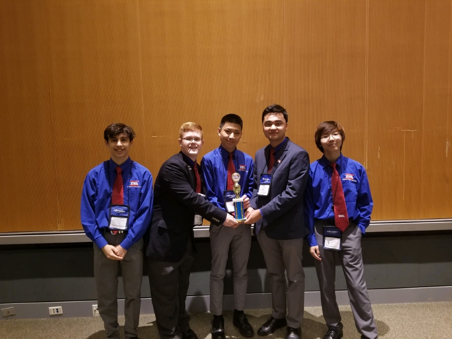 # 3 Principles of Technology - 5 members of the TSA Chapter  winning 3rd place in the TSA Technosphere State competition held in May 2019.